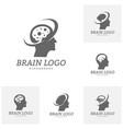 set of brain head logo template man head people vector image vector image