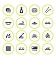 set round icons sushi vector image