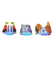 set waterfall landscapes isolated cartoon views vector image vector image