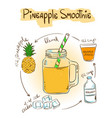 Sketch Pineapple smoothie recipe vector image