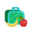 small lunch box ripe banana and apple healthy vector image