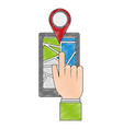 smartphone with gps application vector image vector image