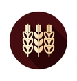 Spikelets of wheat flat icon with long shadow vector image vector image