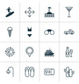 tourism icons set with surfing travel ticket vector image