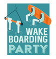wake boarding lessons poster vector image vector image