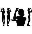 woman silhouette with hand gesture vector image vector image