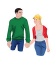 young couple holding their hands colourful vector image vector image