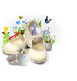 easter greeting card with children booties vector image