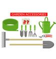 gardening work tools flat icons set gardening vector image