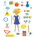 Back to school supplies and girl set vector image