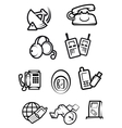 Communication technology for home and office icons vector image