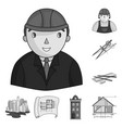 architecture and construction monochrome icons in vector image