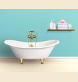 Bathroom Interior Colored Poster vector image