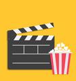 big open clapper board popcorn cinema red white vector image