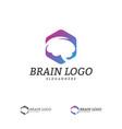 brain with hexagon logo template hexagon with vector image vector image