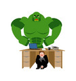 businessman scared under table of green monster vector image vector image