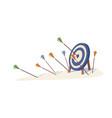 cartoon arrows missed hitting target mark isolated
