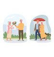cartoon retired pensioner lover characters sitting vector image vector image