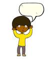 cartoon startled boy with speech bubble vector image vector image