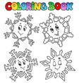 coloring book cartoon snowflakes 1 vector image