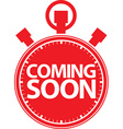 Coming soon stopwatch red icon vector image