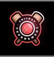cricket circle logo with cross bat modern vector image vector image