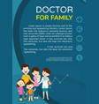 doctor woman and family background poster portrait vector image vector image