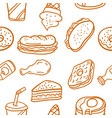 doodle of various food style collection vector image vector image