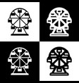 ferris wheel sign black and white icons vector image vector image