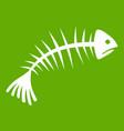 fish bones icon green vector image vector image