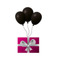 gift box black balloons decoration vector image