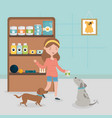 girl and dogs with food medicine shelf pet vector image