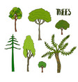 hand sketch trees set collection of tree vector image vector image