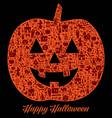 happy halloween pumpkin silhouette card vector image