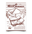 hello summer vacation advertise banner vector image