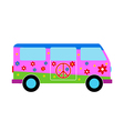 Hippie minibus icon vector image