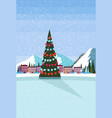 ice skating rink decorated christmas tree ski vector image vector image