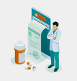 isometric online doctor consultation healthcare vector image vector image
