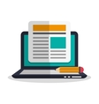 Laptop pencil and blog design vector image vector image
