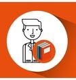library books school man teacher vector image vector image