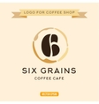 Logo for cafe coffee grains in the form of six vector image