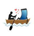 lover of gadgets man and smartphone ride in boat vector image