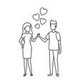 lovers couple with hearts floating vector image vector image
