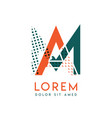 Ma modern logo design with orange and green color