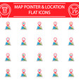 map pointer flat icon set gps and location vector image vector image