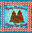 merry christmas happy new year candy frame vector image vector image