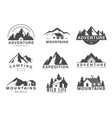 mountain logo flat set design vector image