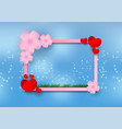 paper art style of cherry blossom with heart and vector image vector image
