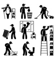 peoples cleaning icons set vector image vector image