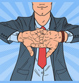 pop art successful businessman rubbing his hands vector image vector image